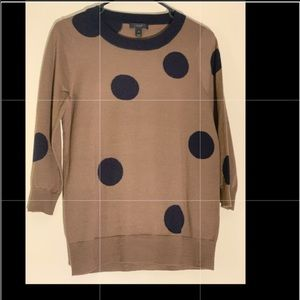 J.Crew wool sweater, size S, brown with bulky dots